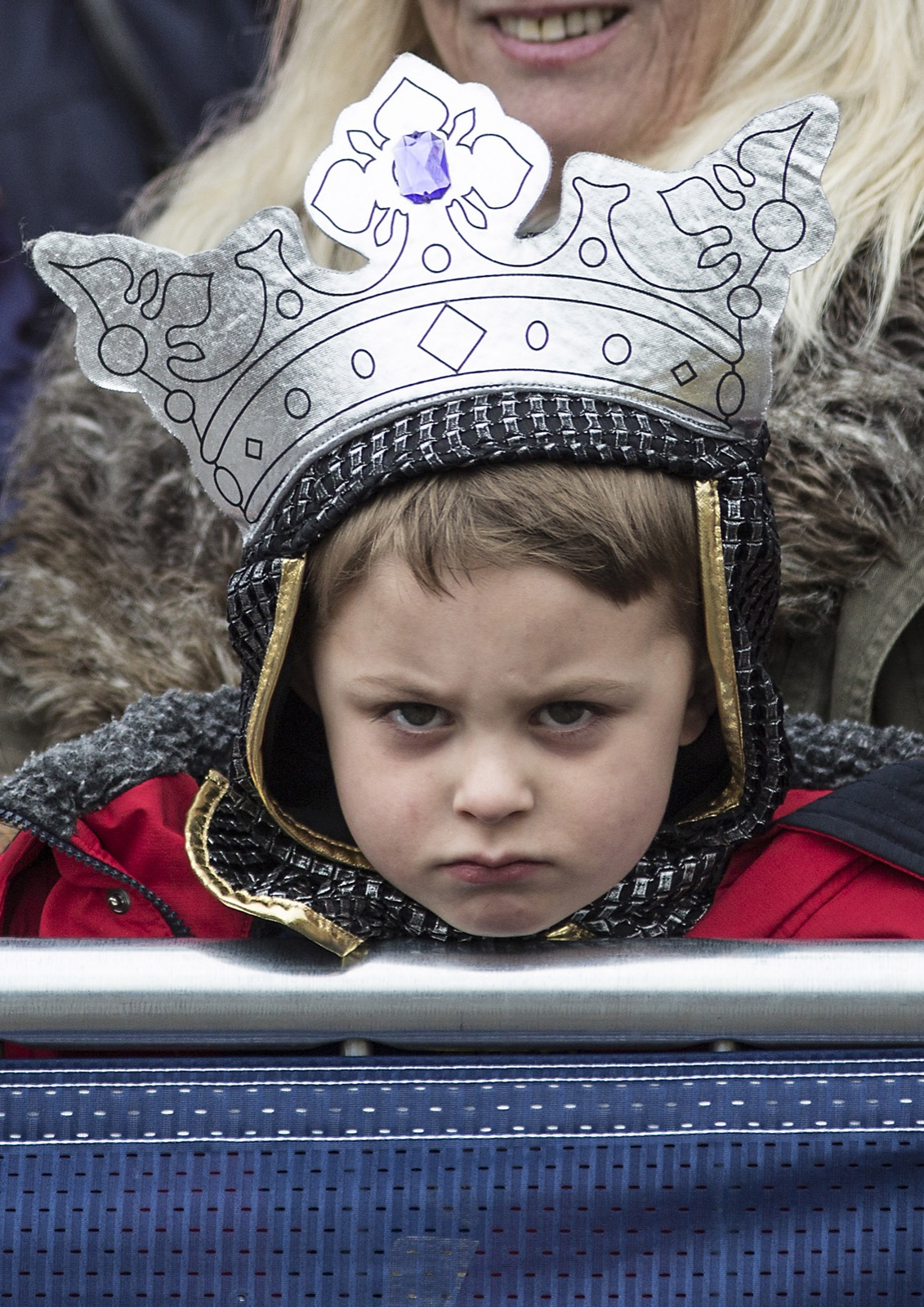Four-year old Torin Weston, dressed as Richard III, waits with his grandmother outside Leicester Cathedral during the reinterment ceremony for King Richard III. Richard Pohle/WPA Pool/Getty Images