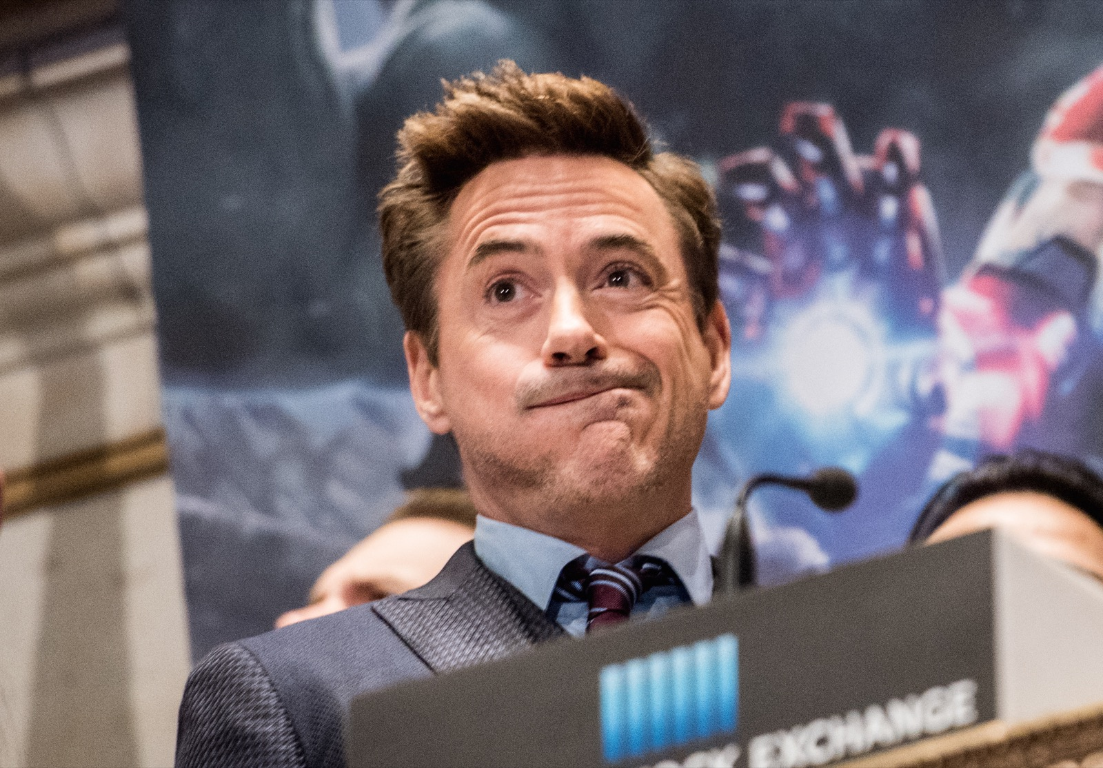 Robert Downey Jr. rings the opening bell at New York Stock Exchange, April 27, in New York. Noam Galai/WireImage/Getty Images