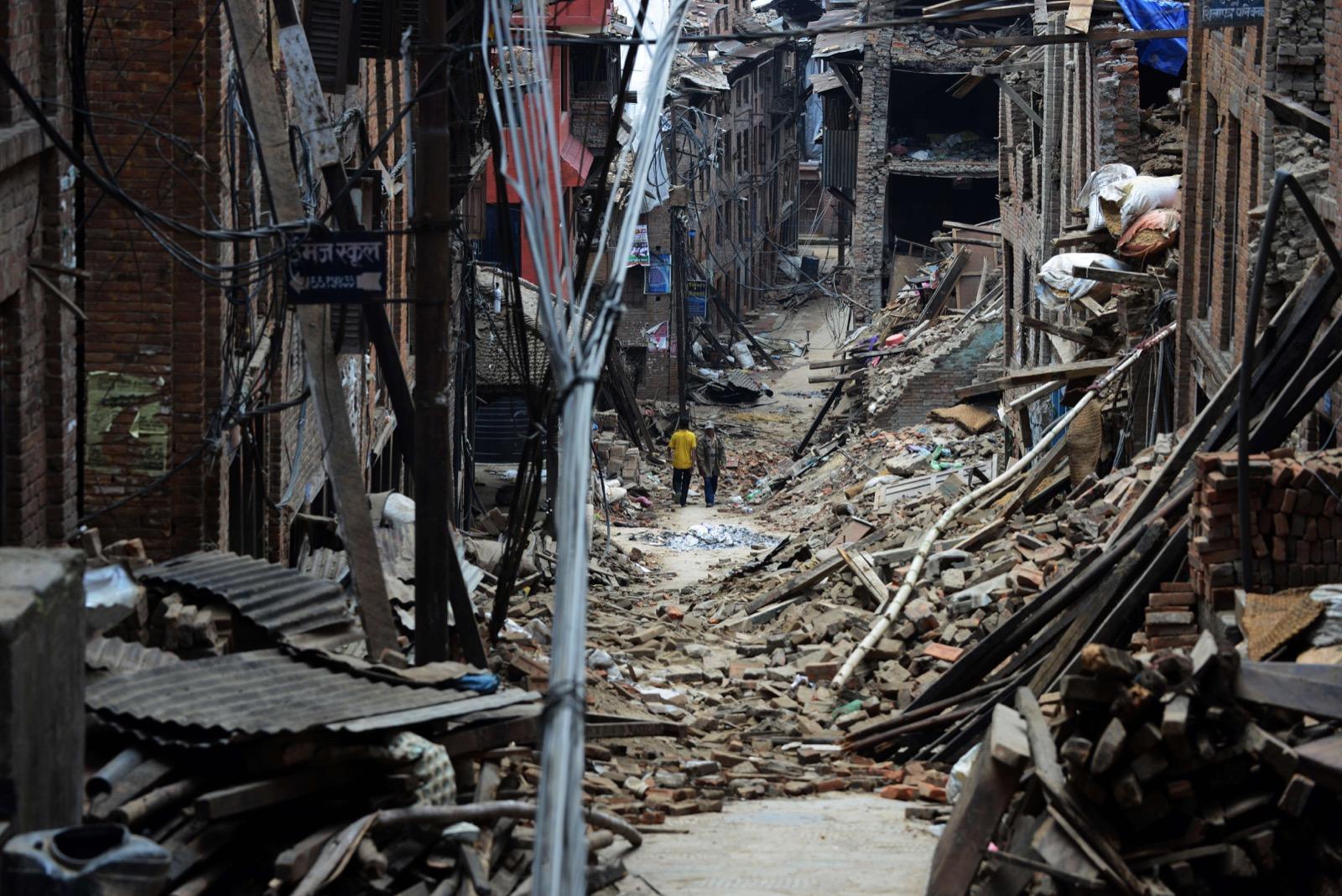 Damaged houses following an earthquake in Bhaktapur on the outskirts of Kathmandu, May 13. PRAKASH MATHEMA/AFP/Getty Images