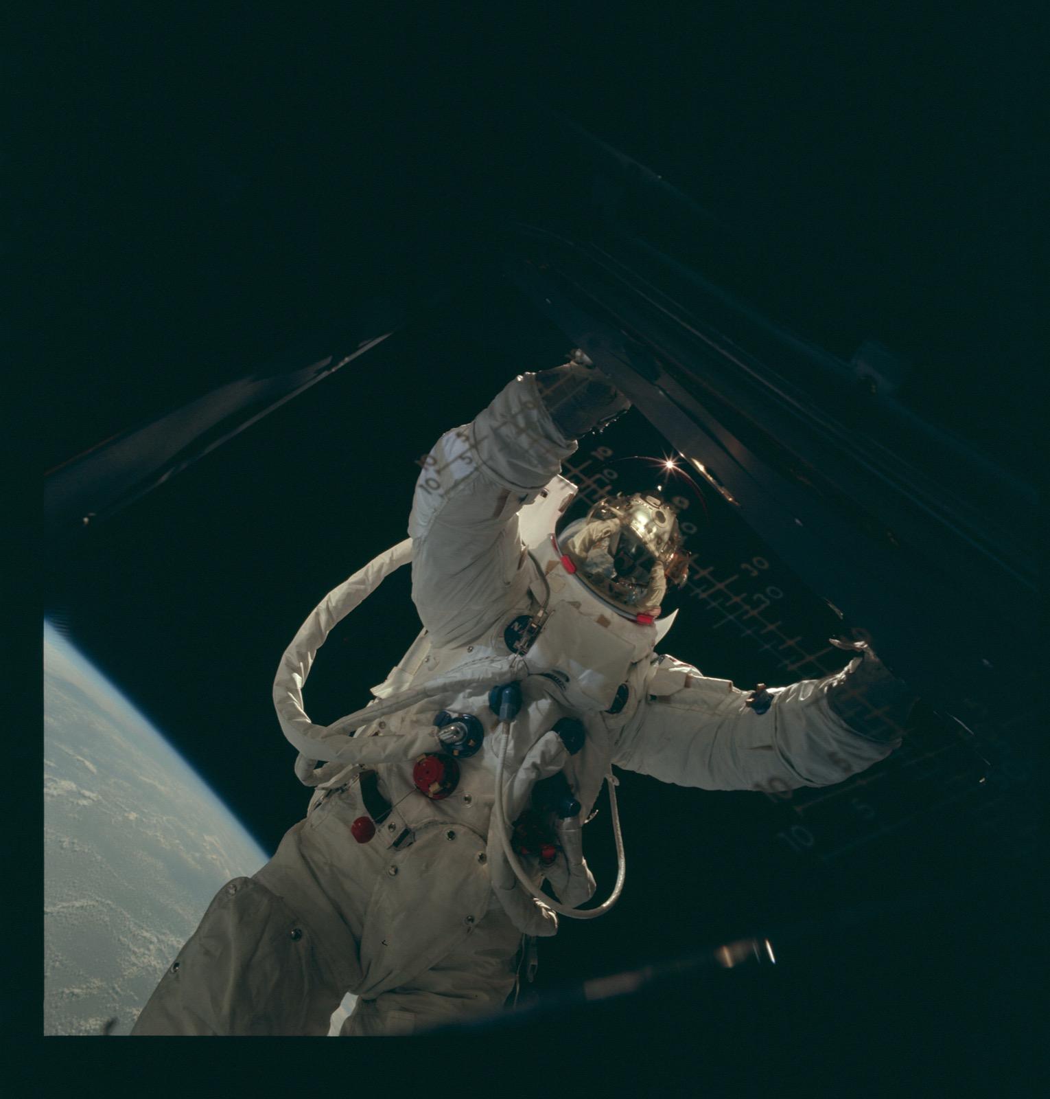 Apollo 9 Hasselblad image from film magazine 20/E - Earth orbit. NASA Photo