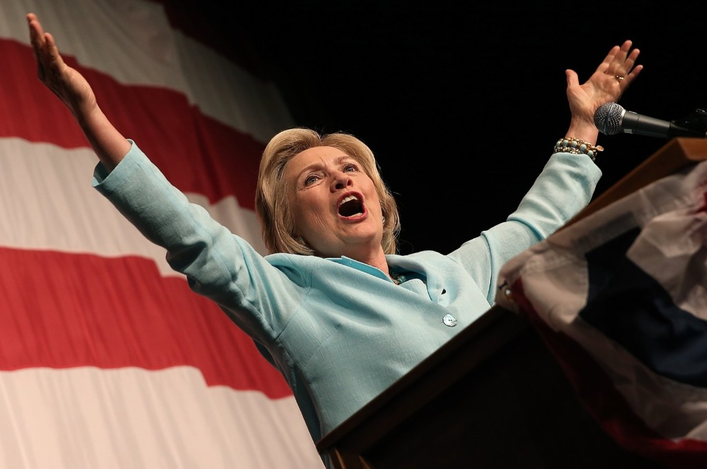 Hillary Clinton speaks at the Iowa Democratic Wing Ding in Clear Lake, Iowa. Win McNamee/Getty Images