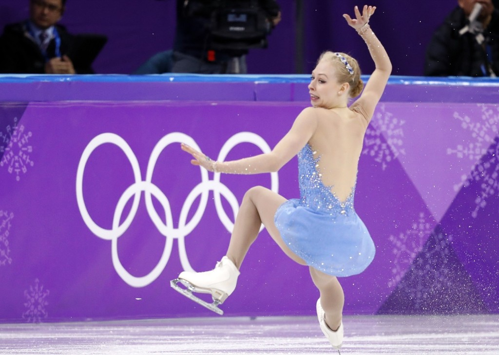 Bradie Tennell of the U.S. slipping to the ice during women's free skate. REUTERS/Damir Sagolj