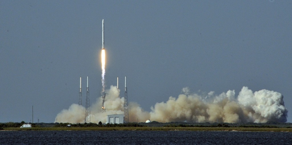 Space X's Falcon 9 rocket lifts off with an unmanned Dragon cargo craft from the launch platform in Cape Canaveral. BRUCE WEAVER/AFP/Getty Images
