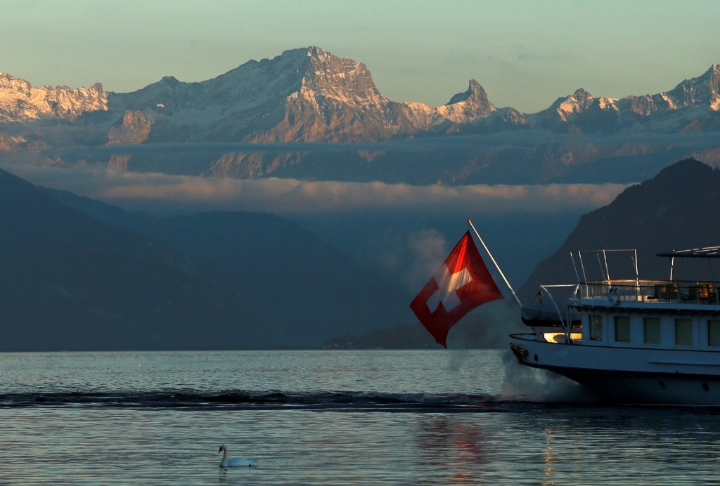 """""""La Suisse"""" steamboat on Lake Leman during an autumn evening in Lausanne. REUTERS/Denis Balibouse"""
