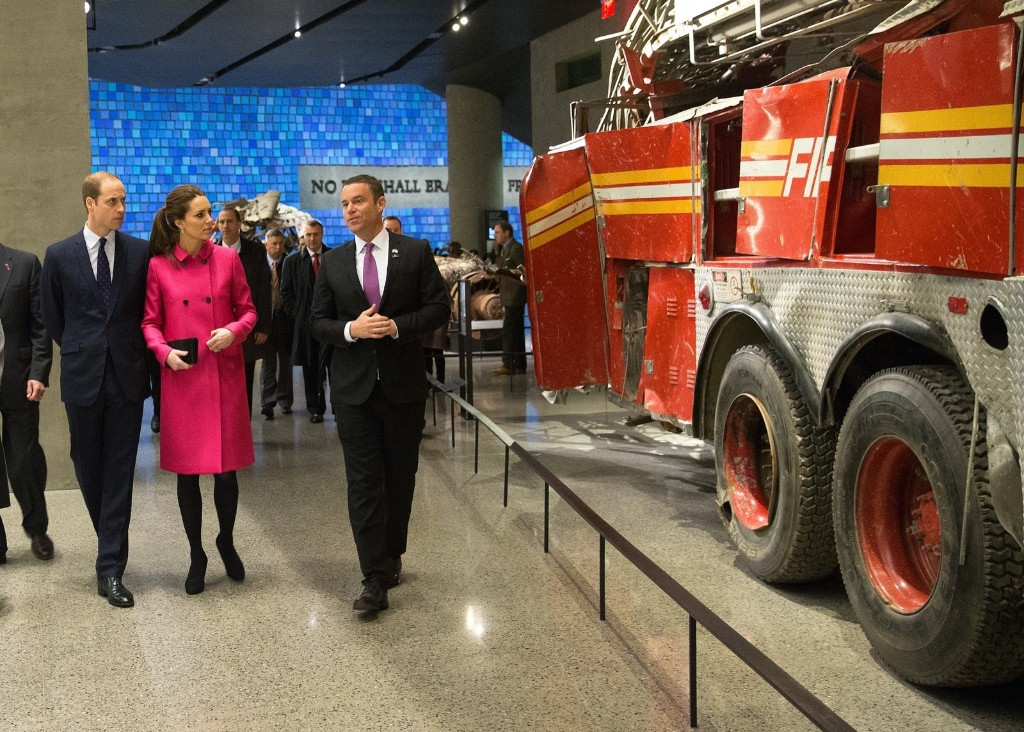 Prince William, Duke of Cambridge and Catherine, Duchess of Cambridge view the remains of Fire Dept. of New York Ladder 3 during a visit the National September 11 Memorial & Museum, Tuesday in New York. Doug Mills-Pool/Getty Images