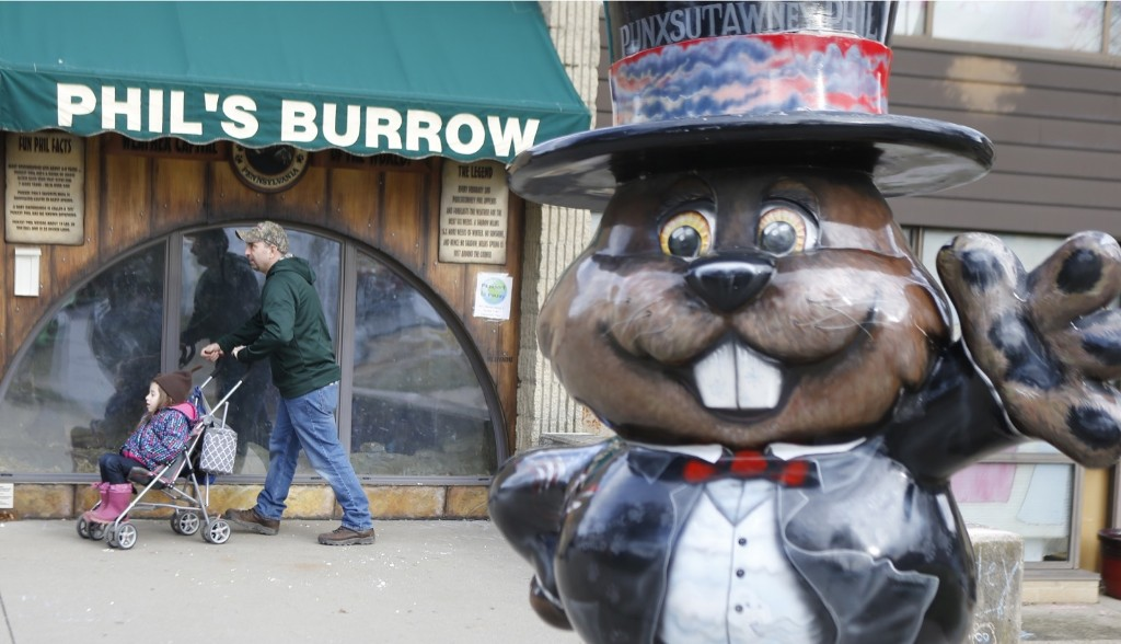 Part of the scene in Punxsutawney for the annual celebration of Groundhog Day. AP Photo/Keith Srakocic