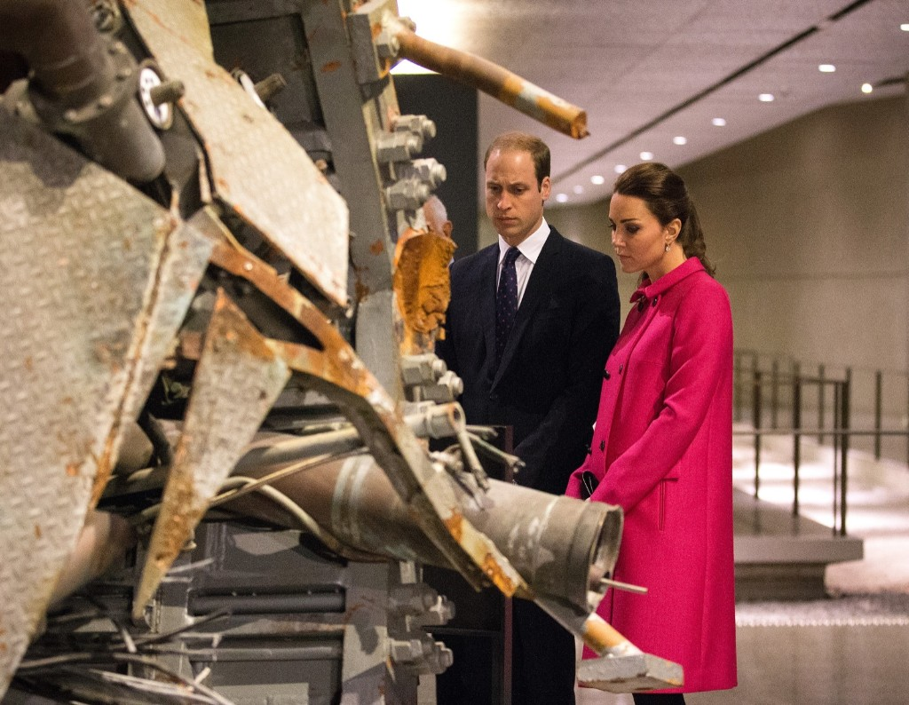 Prince William, Duke of Cambridge and Catherine, Duchess of Cambridge look at a portion of the North Tower antenna at the National September 11 Memorial & Museum, Tuesday in New York. Doug Mills-Pool/Getty Images