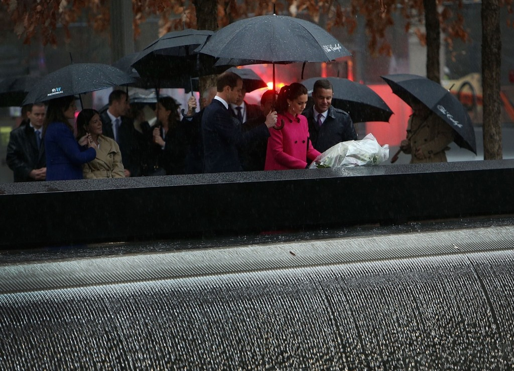 Prince William, Duke of Cambridge and Catherine, Duchess of Cambridge lay a wreath at one of the reflecting pools at the National September 11 Memorial and Museum, Tuesday in New York. Spencer Platt/Getty Images