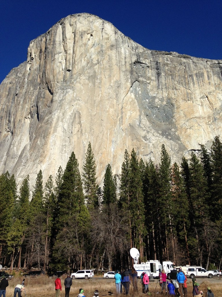 Media members watch as two climbers vying to become the first in the world to use only their hands and feet to scale the Dawn Wall on El Capitan. AP Photo/Ben Margot