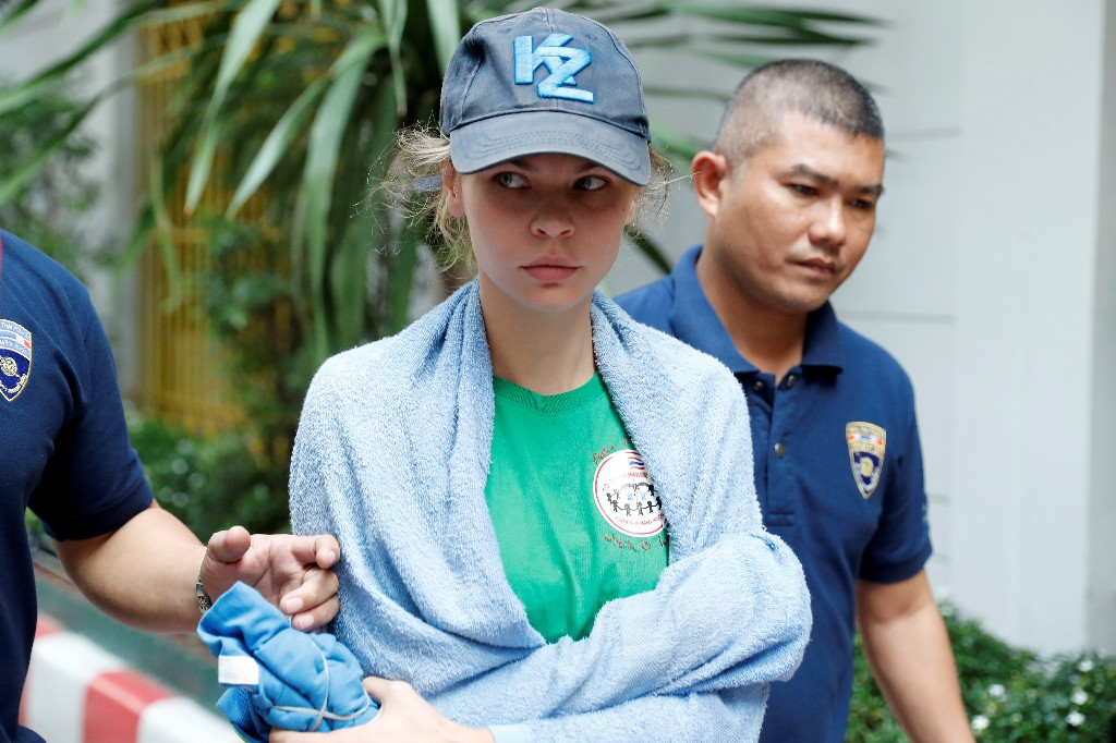 Anastasia Vashukevich, a Belarusian model and escort who caused a stir last year after she was arrested in Thailand and said she had evidence of Russian interference in the 2016 U.S. presidential election, is pictured at Immigration detention center before being deported in Bangkok, Thailand, January 17, 2019. REUTERS/Jorge Silva