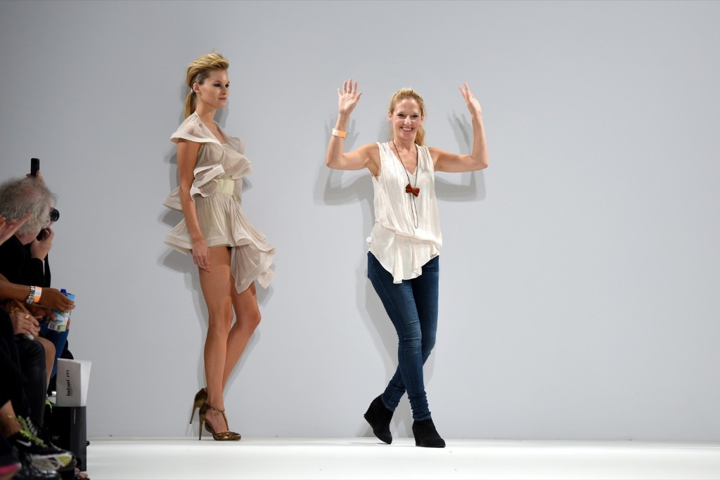 Designer Vita Gottlieb appears on the runway after her show. Ben A. Pruchnie/Getty Images