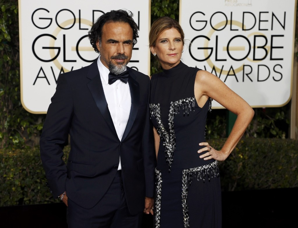 Alejandro Gonzalez Inarritu and his wife Maria Eladia Hagerman arrive at the 73rd Golden Globe Awards. REUTERS/Mario Anzuoni