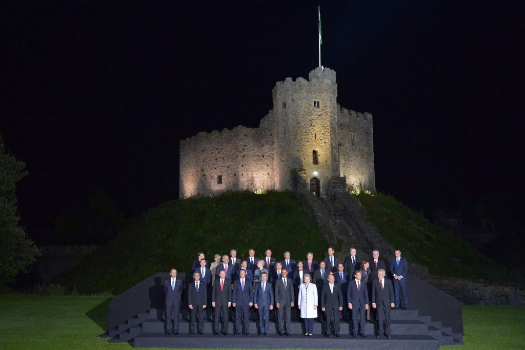 World leaders and senior ministers pose for a family photo at the NATO Summit in front of Cardiff Castle. NATO/Pool/Anadolu Agency/Getty Images
