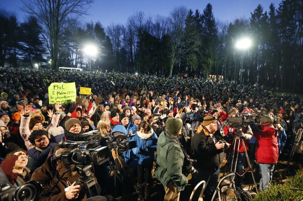 A crowd watches during the annual celebration of Groundhog Day. AP Photo/Keith Srakocic