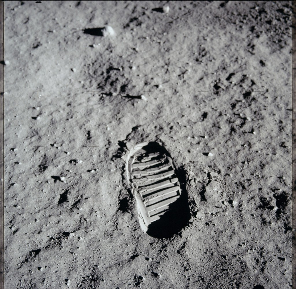 One of the first steps taken on the Moon, this is an image of Buzz Aldrin's bootprint from the Apollo 11 mission. Neil Armstrong and Buzz Aldrin walked on the Moon on July 20, 1969. NASA Photo