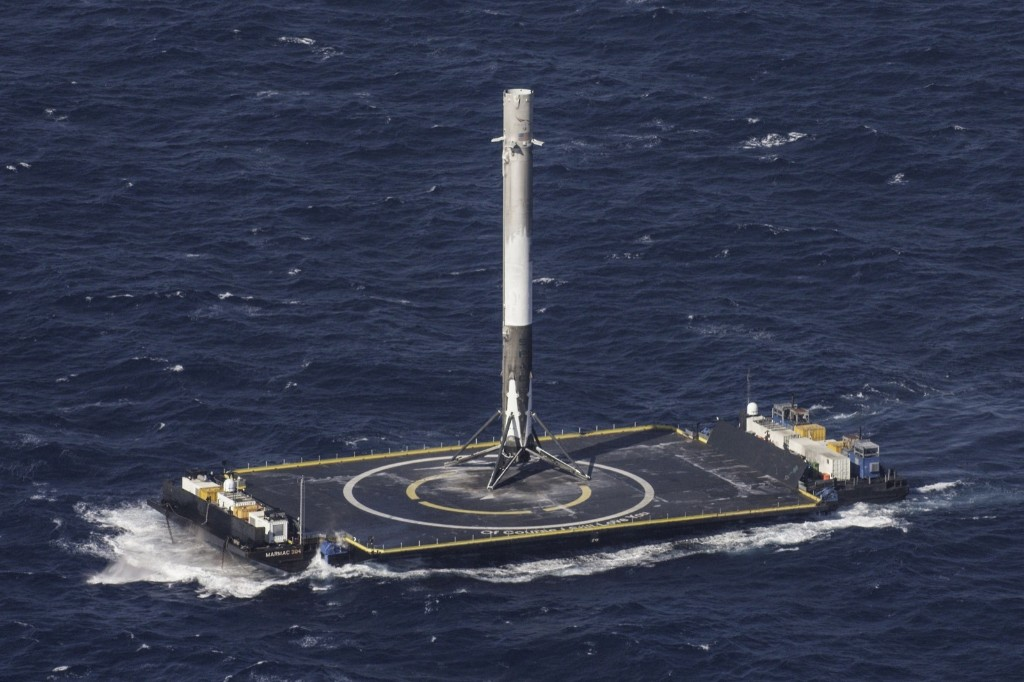 The reusable main-stage booster from the SpaceX Falcon 9 rocket makes a successful landing on a platform in the Atlantic Ocean. REUTERS/SpaceX