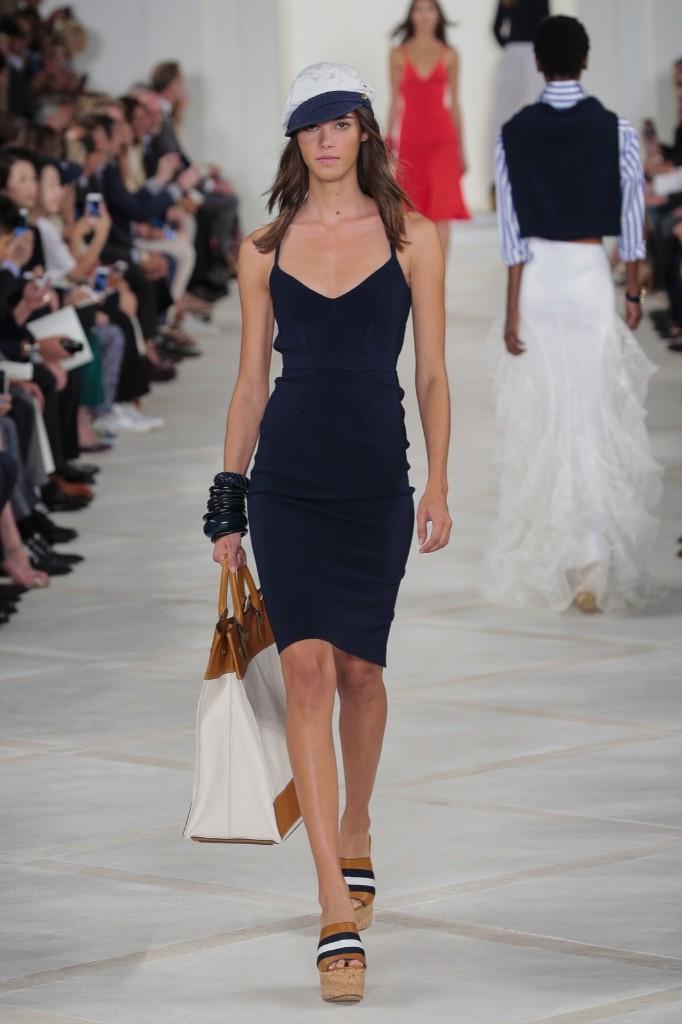 A model walks the runway at the Ralph Lauren show. Randy Brooke/WireImage