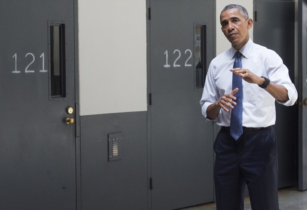 US President Barack Obama tours the El Reno Federal Correctional Institution in El Reno, Oklahoma, Thursday. SAUL LOEB/AFP/Getty Images