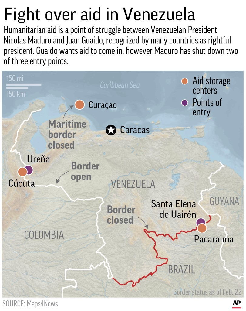 Map shows the various humanitarian aid points around Venezuela and borders which have been closed; 2c x 4 1/4 inches; 96.3 mm x 107 mm;