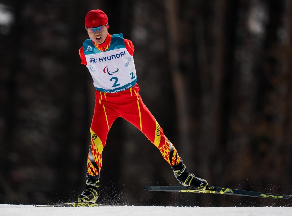 Chenyang Wang of China competes in the Standing Men's 20km Free Cross-Country Skiing at the Alpensia Biathlon Centre during the Paralympic Winter Games. Bob Martin for OIS/IOC