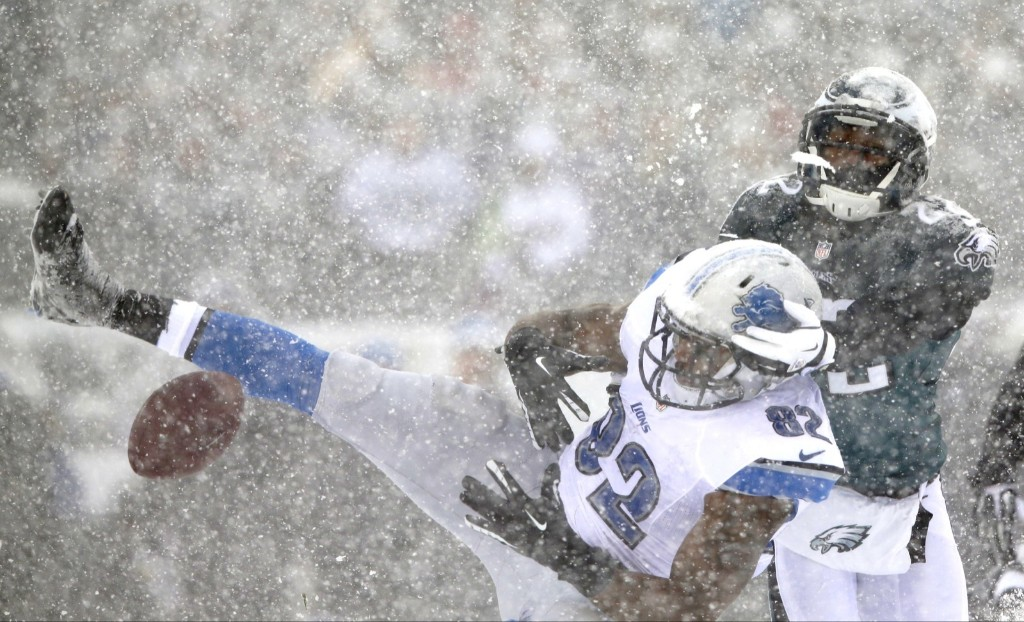 Lions Dorin Dickerson cannot hang onto pass in the blizzard. AP Photo/Michael Perez