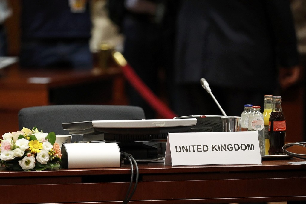 The UK seat at the conference table the EU Summit in Brussels this week. REUTERS/Phil Noble