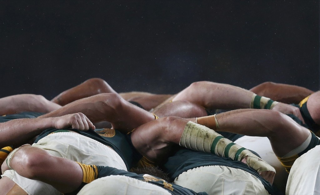 South Africa compete in a scrum with New Zealand during their Rugby World Cup semifinal match at Twickenham. REUTERS/Russell Cheyne