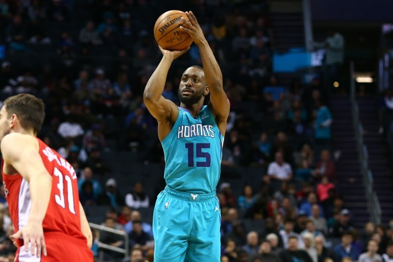 Feb 22, 2019; Charlotte, NC, USA; Charlotte Hornets guard Kemba Walker (15) shoots the ball against the Washington Wizards in the second half at Spectrum Center. Mandatory Credit: Jeremy Brevard-USA TODAY Sports
