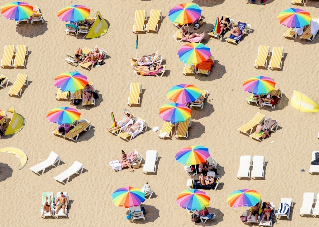 Sunbathers on the beach in Scheveningen, the Netherlands. A blistering heatwave swept through Europe last week. ROBIN VAN LONKHUIJSEN/AFP/Getty Images