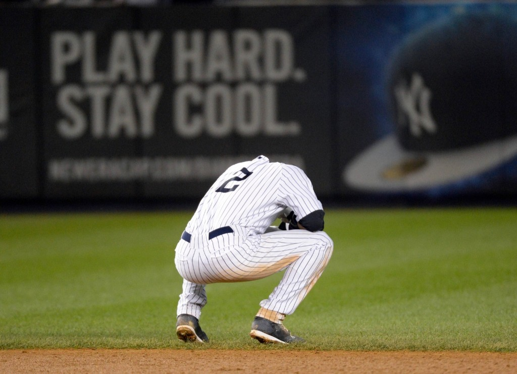 Derek Jeter taking a moment after his last game at the Stadium. Robert Deutsch-USA TODAY Sports