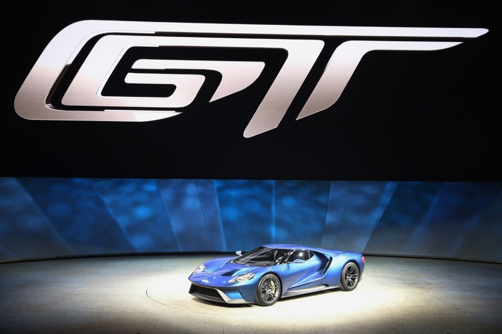 Ford introduces the GT at the North American International Auto Show in Detroit, Monday. Scott Olson/Getty Images