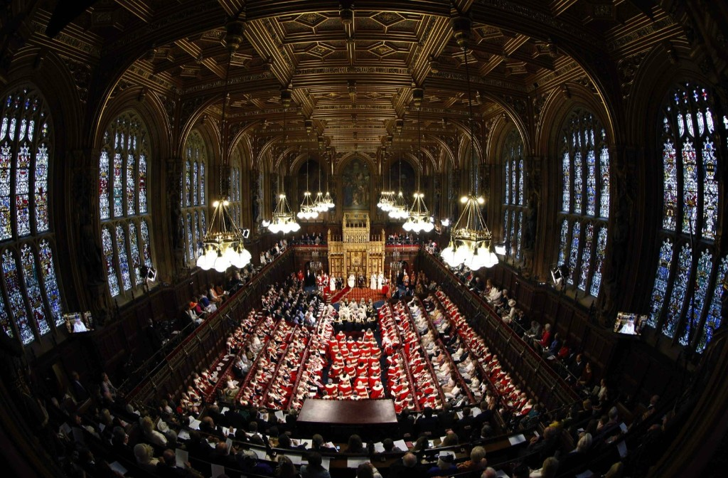Queen Elizabeth addressing the House of Lords. REUTERS/Suzanne Plunkett