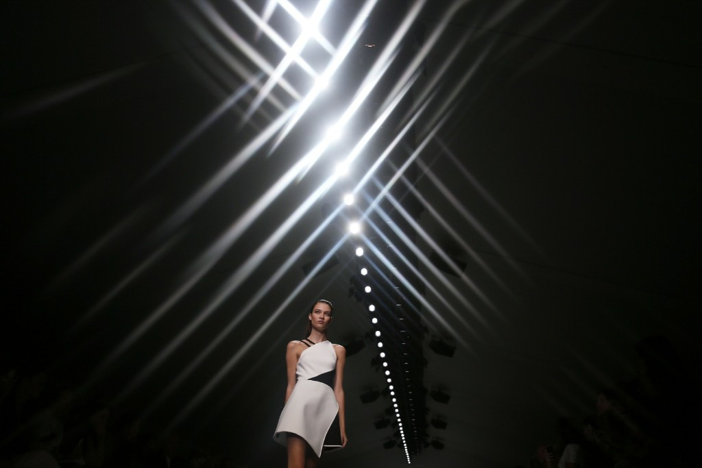 A model presents a creation from the David Koma Spring/Summer 2015 collection. REUTERS/Stefan Wermuth