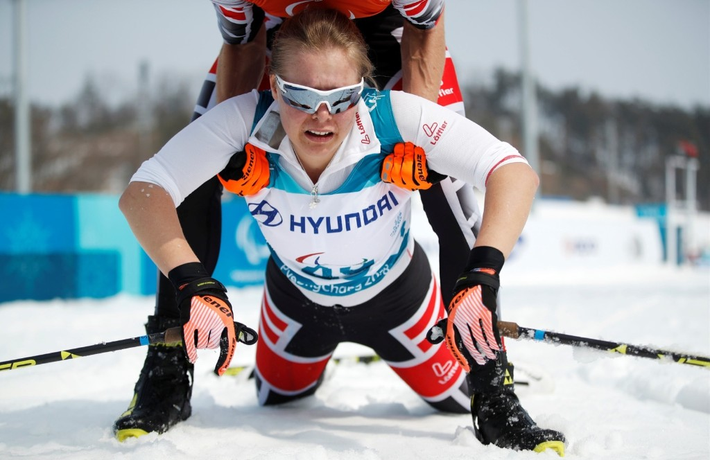 Carina Edlinger of Austria after completing the women's 15km Free Visually Impaired Cross Country race. REUTERS/Carl Recine