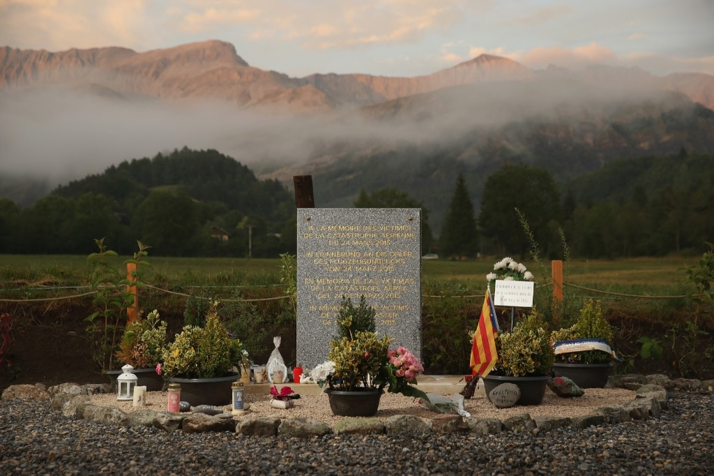 A memorial to the victims of the Germanwings aircraft crash on the day before a burial ceremony for the last victims in Le Vernet, France. Sean Gallup/Getty Images