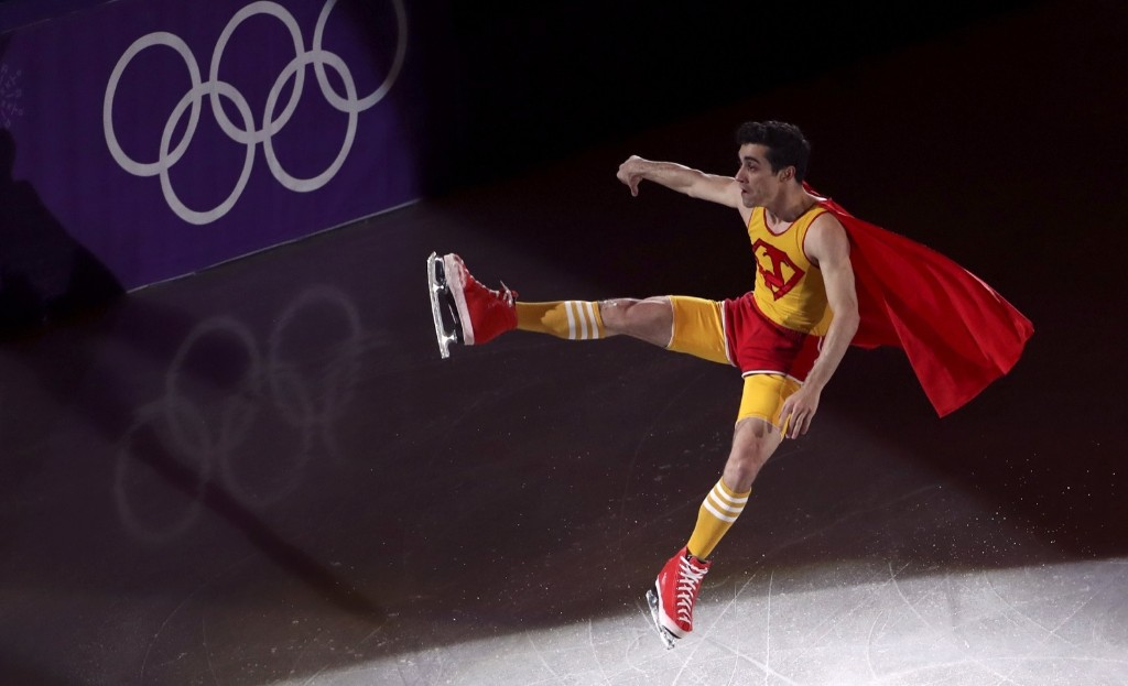 Javier Fernandez of Spain, who won bronze in men's figure skating, performs at the gala. REUTERS/Lucy Nicholson
