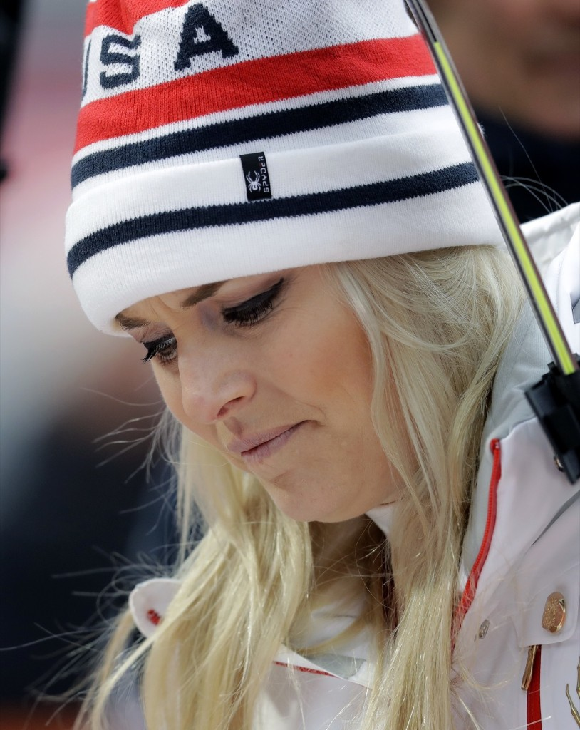 Lindsey Vonn in the mixed zone after the women's combined. She didn't finish the race after missing a gate in the slalom. AP Photo/Michael Probst