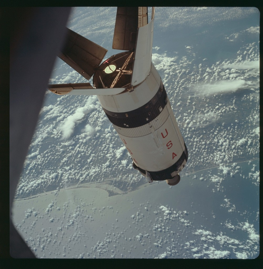 Apollo 7 Hasselblad image from film magazine 3/M - Earth Orbit. NASA Photo