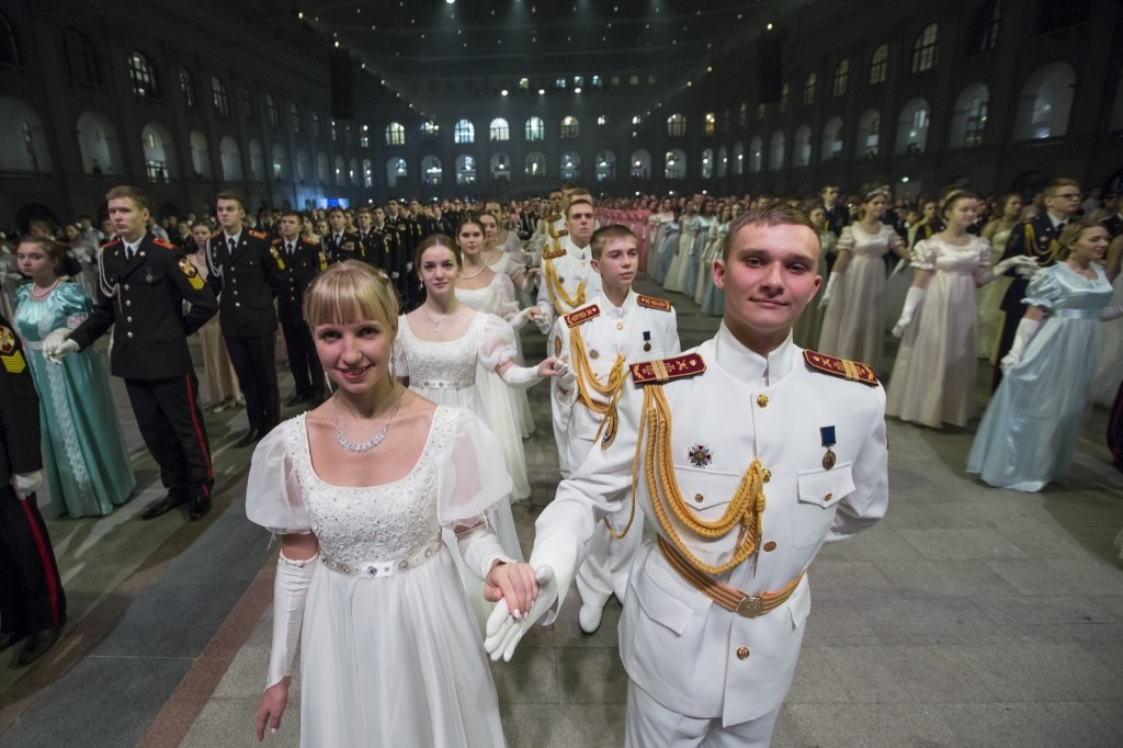 Military school students stand ready to dance during their annual ball in Moscow. The ball attracts youth from all over Russia. AP Photo/Alexander Zemlianichenko