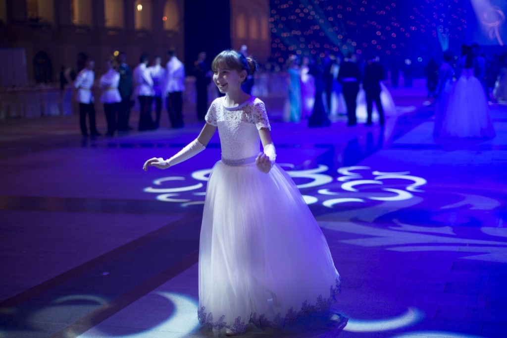 A military school student rehearses before the annual ball in Moscow. AP Photo/Alexander Zemlianichenko