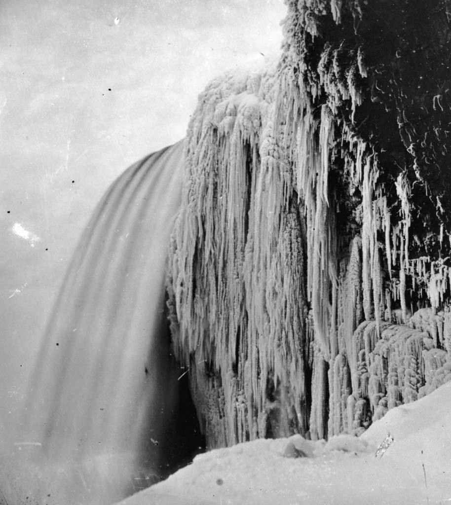 Icicles hanging from the rock at Bridal Veil or Luna Falls, on the American side of Niagara Falls circa 1859. William England/Getty Images