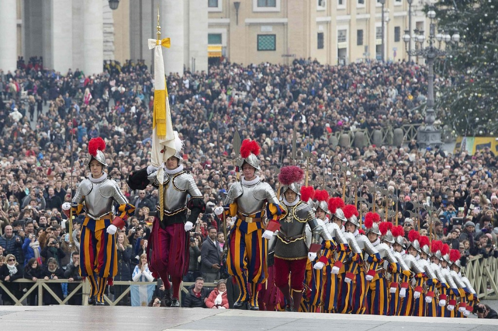 The new commandant of the Pontifical Swiss Guard, Christoph Graf, attends a handover ceremony at the Vatican. REUTERS/Osservatore Romano