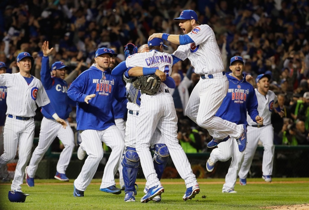Cubs celebrate the team's first pennant since 1945. Jamie Squire/Getty Images