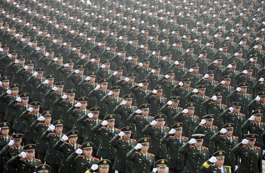 Paramilitary policemen attend an oath-taking rally in Nanjing, Jiangsu province. REUTERS/China Daily