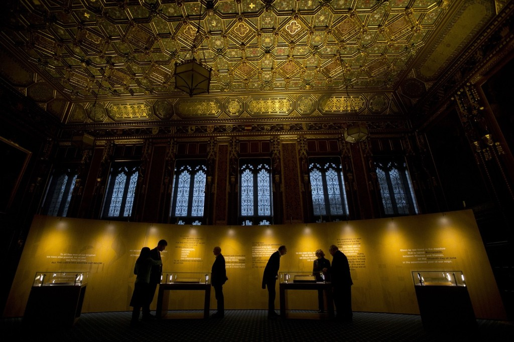 The four surviving original parchment engrossments of the 1215 Magna Carta on display to mark the 800th anniversary of the sealing of Magna Carta at Runnymede in 1215, in the Queen's Robing Room at the Houses of Parliament. Matt Dunham/WPA Pool/Getty Images