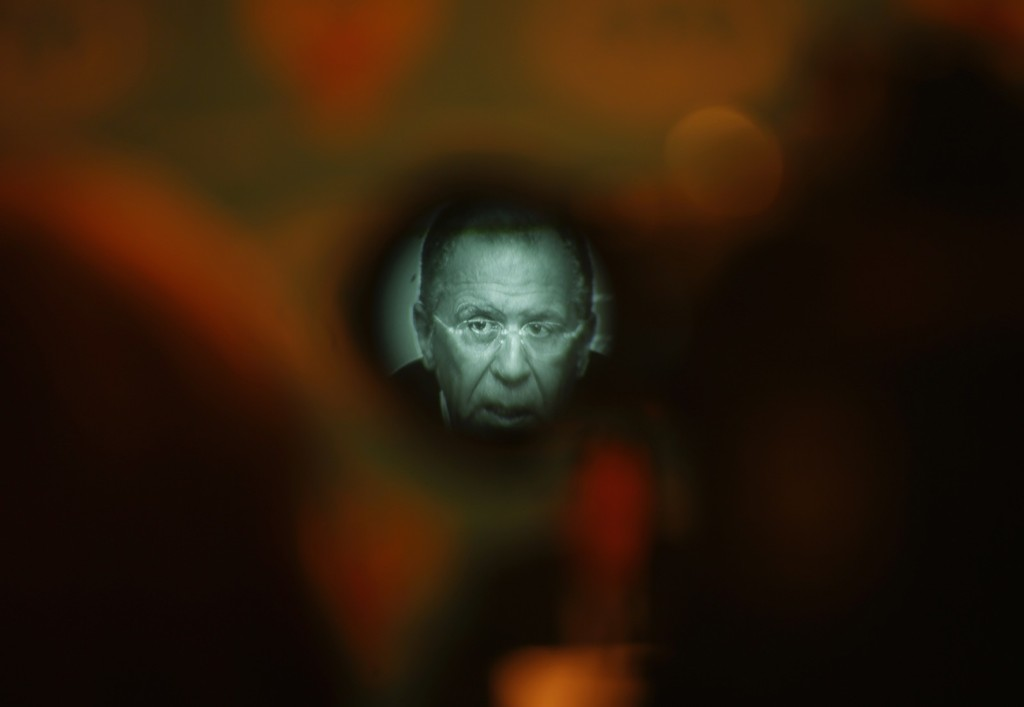 Russia's Foreign Minister Sergei Lavrov is seen through a viewfinder of a video camera during news conference in Moscow. REUTERS/Maxim Zmeyev