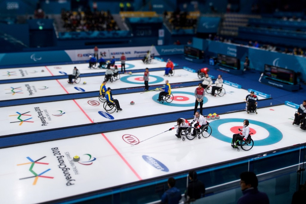 General view of the competition during the Wheelchair Curling Round Robin Session at the Gangneung Curling Centre. Thomas Lovelock for OIS/IOC