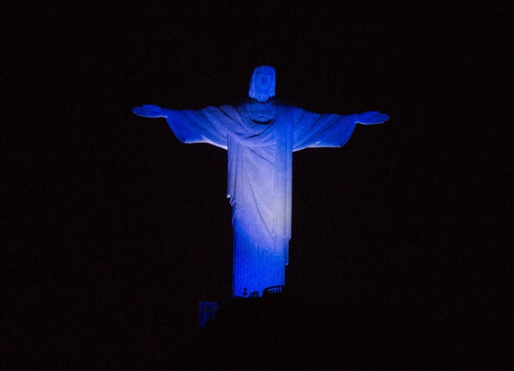 Christ the Redeemer says goodbye to the 2014 World Cup. AP Photo/Leo Correa