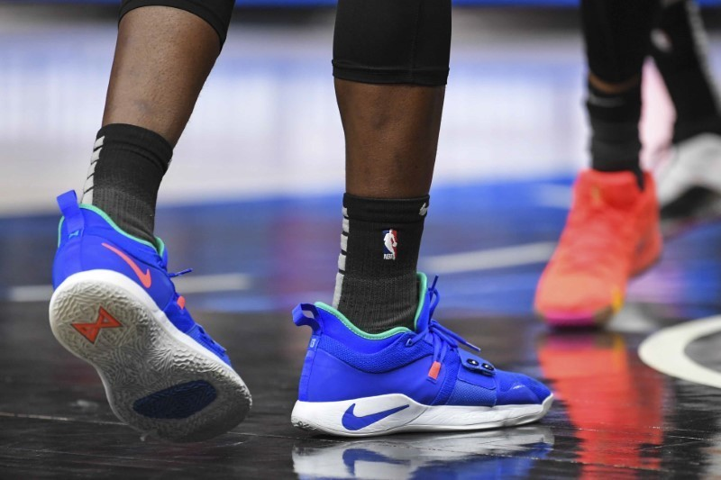 Feb 22, 2019; Atlanta, GA, USA; The shoes of Detroit Pistons guard Reggie Jackson (1) on the court against the Atlanta Hawks during the second half at State Farm Arena. Mandatory Credit: Dale Zanine-USA TODAY Sports