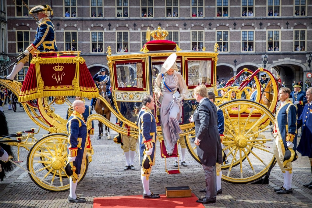 Dutch King Willem-Alexander and Queen Maxima arrive at the Ridderzaal in The Hague, on Prince's Day. ROBIN UTRECHT/AFP/Getty Images